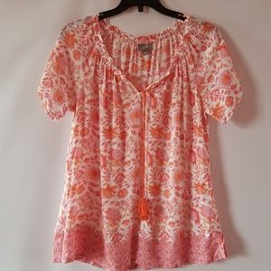 J. Jill floral print peasant boho blouse top small